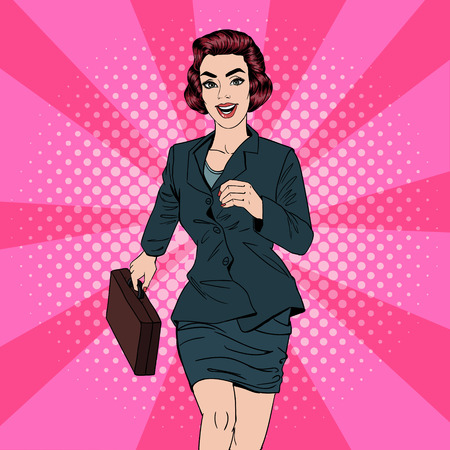Business Woman. Happy Woman. Woman with Suitcase. Pop Art Banner. Successful Woman. Success in Business. Vector illustration Vectores