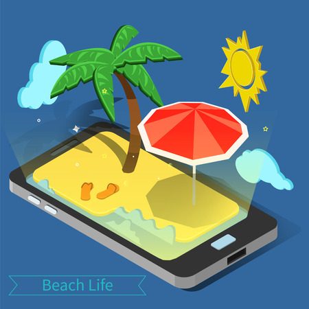 Beach Vacation. Summer Time. Tropical Vacation. Exotic Island. Advertisement Banner. Phone with Tropical Island. Palm Trees. Isometric Concept. Vector illustration
