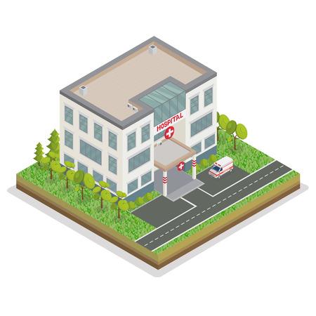 Ziekenhuisgebouw. City Hospital. Medisch Centrum. Isometrische Concept. Ambulance Car. Emergency Car. Vector illustratie