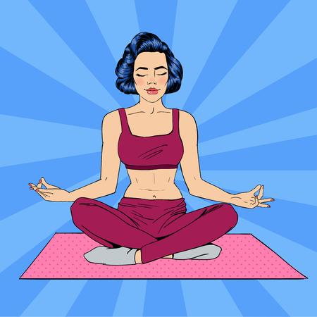 Vrouw in Yoga stelt. Vrouw Meditatie. Vrouw van de yoga. Lotus Pose. Meisje mediteren. Pop Art Banner. vector illustratie