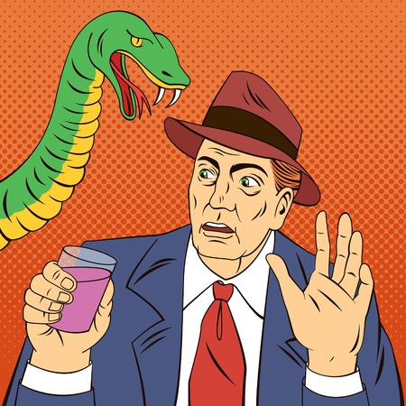 snake bar: Man with Glass of Wine. Stop Drinking. Alcohol Snake. Alcohol Addiction. Social Advertising. Pop Art Banner. Vector illustration