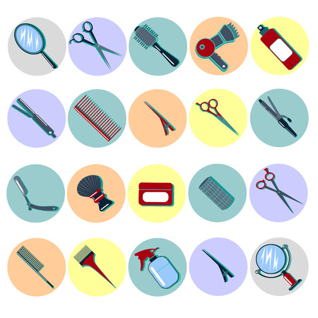 barbershop pole: Barber Tools. Hairdresser Tools. Hair Beauty. Hair Accessories. Fashion Equipment. Scissors, Comb. Mirror, Curler. Icons Set. Vector illustration. Flat style Illustration