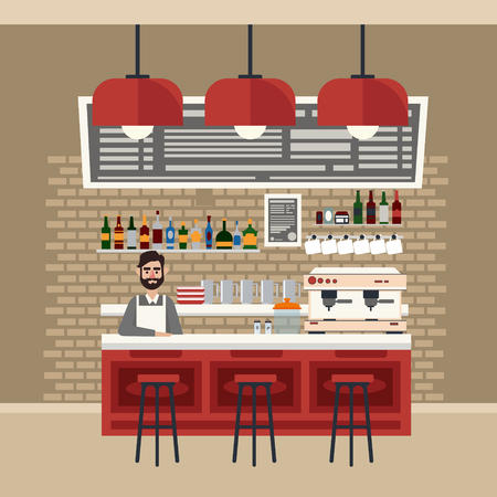 bar table: Cafe Interior. Different Beverages. Coffee Maker. Barman. Bar Table. European Cafe. Bistro, Restaurant, Coffee House. Vector illustration. Flat Style Illustration
