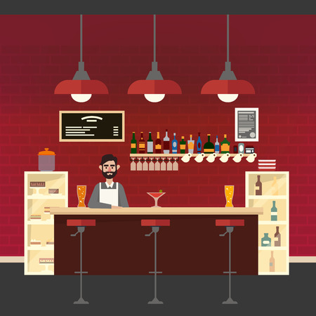 bar table: Cafe Interior. Different Beverages. Barman. Bar Table. European Cafe. Bistro, Restaurant, Coffee House. Vector illustration. Flat Style