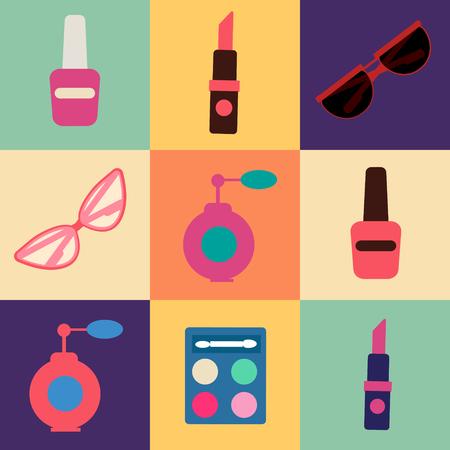 maquillage: Cosmetics Set. Icons Set. Cosmetology. Fashion and Beauty. Perfume, Polish, Pomade. Female Beauty. Vector illustration. Flat Style