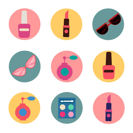 pomade: Cosmetics Set. Icons Set. Cosmetology. Fashion and Beauty. Perfume, Polish, Pomade. Female Beauty. Vector illustration. Flat Style
