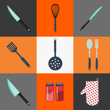 colander: Kitchen Utensils. Kitchen Equipment. Kitchen Cutlery. Household Objects. Icons Set. Knife, Fork, Spoon, Peppers, Salt, Colander. Vector illustration. Flat style