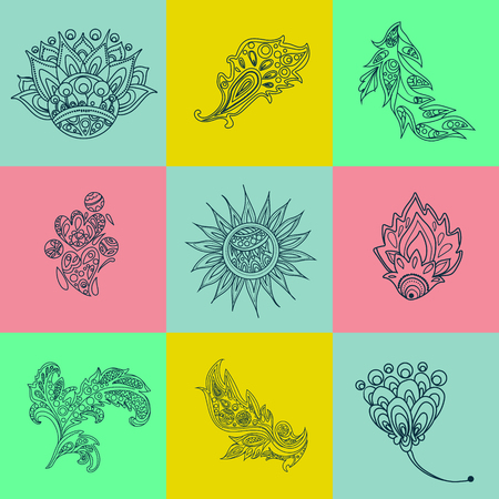 ethno: Ethnic Elements. Ornamental Elements. Ethnic Background. Decoration Elements. Floral Background. Tribal Ornament. Vector illustration