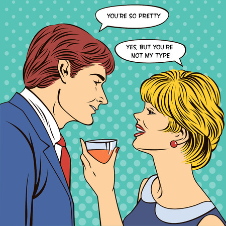 Flirting Couple. Woman Drinking Champagne. Man Flirts with a Woman. Woman with a Glass. Pop Art Banner. Vector illustration