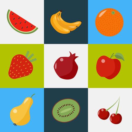 vegeterian: Fruits Set. Healthy Food. Vegeterian Food. Healthy Lifestyle. Different Fruits. Watermelon, Bananas, Orange, Strawberry, Pomegranate, Pear, Kiwi, Cherry. Icons Set. Vector illustration Illustration