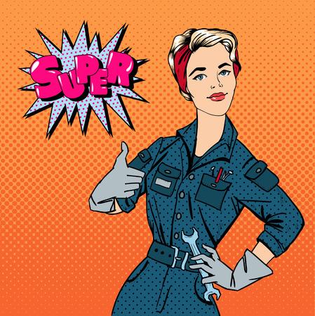 mujeres trabajando: Niña con herramientas. Mujer con herramientas. Mujer trabajadora. La mujer que gesticula Grande. Mujer reparador. Arte pop de la bandera. Pin retro encima de la muchacha. ilustración vectorial