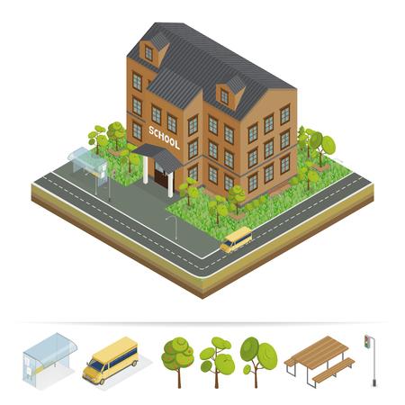 School Building. Modern School. Urban Scene. School Bus. School Facade. Isometric Building. Back to School. Vector illustration Vektorové ilustrace