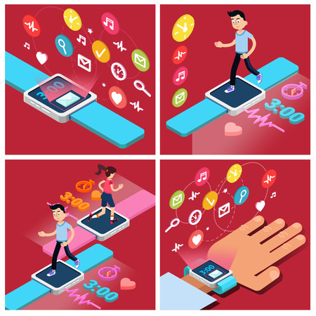 smart woman: Smart Watch. Modern Technology. Modern Lifestyle. Man Running. Woman Running. Isometric Concept. Vector illustration Illustration