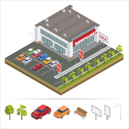 Isometrische Supermarket. Parkeerplaats. Stad Supermarket. Isometrische Car. Winkelcentrum. Supermarkt Building. Winkelcentrum. Isometrische Building. vector illustratie
