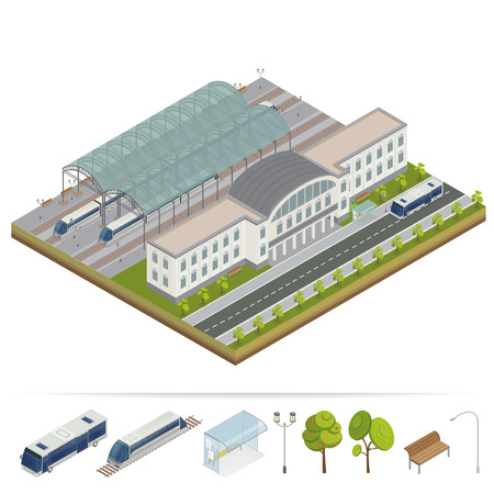 diesel train: Railway Station. Railway Building. Railway Terminal. Isometric Building. City Train. City Bus. Building Facade. Train Station. Vector illustration Illustration