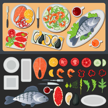 species plate: Sea Food. Healthy Food. Prepared Fish. Vegetables and Fish. Seafood Menu. Fish and Shrimps. Seafood Cuisine. Vector illustration. Flat style