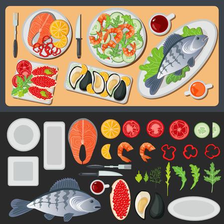 species plate: Sea Food. Healthy Food. Prepared Fish. Vegetables and Fish. Seafood Menu. Fish and Shrimps. Seafood Cuisine. Vector illustration. Flat style