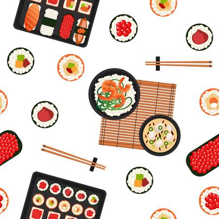 日本料理。海の食べ物。寿司の背景。シームレス パターン。異なるロール、スープとご飯と寿司。ベクトルの図。フラット スタイル