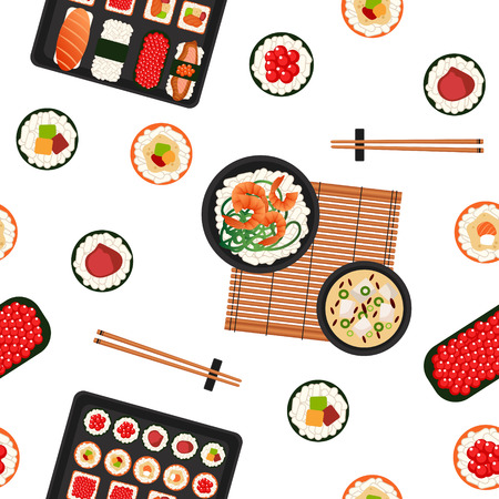Japanese Food. Sea Food. Sushi Background. Seamless Pattern. Sushi with Different Rolls, Soup and Rice. Vector illustration. Flat style Ilustração