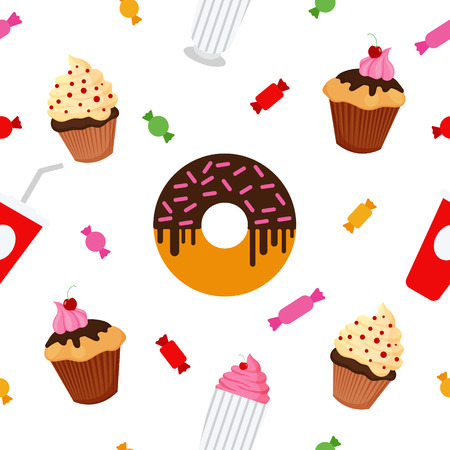 fruitcakes: Sweet Food. Fast Food. Cake, Donut, Candies, Chocolate, Muffin. Seamless Pattern. Celebration Wallpaper. Vector background Illustration