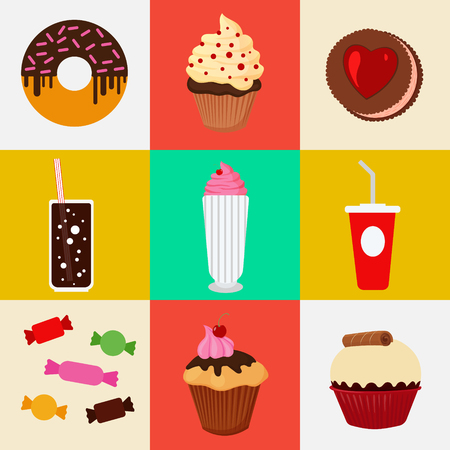 fruitcakes: Sweet Food. Fast Food. Cake, Donut, Candies, Chocolate, Muffin. Icons Set. Vector background