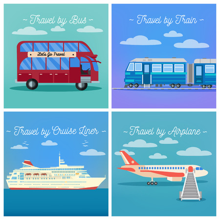 tourism industry: Travel Banner. Tourism Industry. Train Travel. Bus Travel. Cruise Liner Travel. Airplane Travel. Mode of Transportation. Vector illustration. Flat Style Illustration