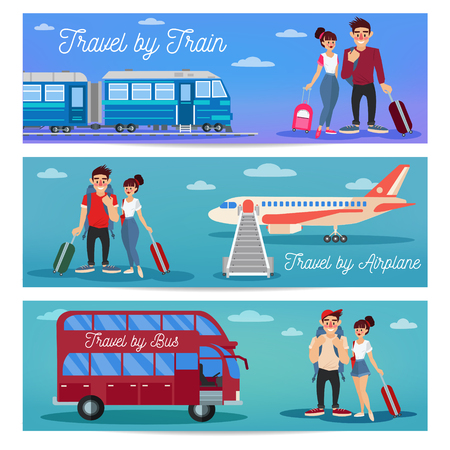 bus tour: Bus Travel. Train Travel. Airplane Travel. Travel Banner. Tourism Industry. Active People. Girl with Baggage. Bus Tour. Man with Baggage. Happy Couple. Vector illustration. Flat Style