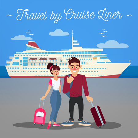 tourism industry: Cruise Liner Travel. Cruise Liner. Passenger Ship. Travel Banner. Tourism Industry. Active People. Girl with Baggage. Man with Baggage. Happy Couple. Vector illustration. Flat Style
