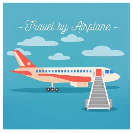 tourism industry: Travel Banner. Tourism Industry. Airplane Travel. Mode of Transportation. Vector illustration. Flat Style Illustration