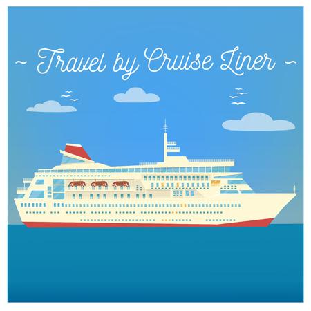 liner transportation: Travel Banner. Tourism Industry. Cruise Liner Travel. Mode of Transportation. Vector illustration. Flat Style