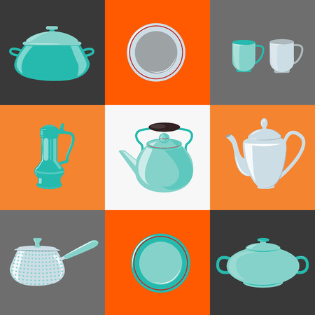 household objects equipment: Kitchen Utensils. Kitchen Equipment. Household Objects. Icons Set. Pot, Kettle, Cup, Dish, Plate. Vector illustration. Flat style