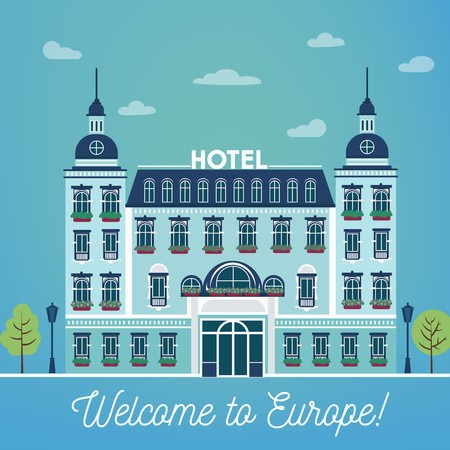 accomodation: European Hotel. City Hotel. Vintage Building. Hotel Building Facade. Travel Industry. Vector illustration. Flat style