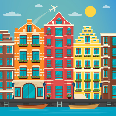 urban scene: European City. Urban Scene. European Architecture. Vintage House. River with Boats. Travel Background. Vector illustration. Flat style