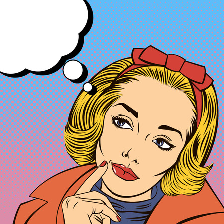woman looking up: Woman Thinking. Pretty Girl. Woman Doubts. Woman Looking Up. Pop Art Banner. Vector illustration