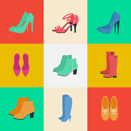 womens fashion: Womens Shoes. Womens Fashion. Seasonal Shoes. Icons Set. Boots, Louboutin, Shoes. Vector Illustration. Flat style Illustration