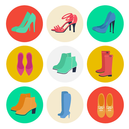 estaciones del año: Zapatos de mujer. Moda femenina. Zapatos de temporada. Iconos conjunto. Botas, Louboutin, zapatos. Ilustración del vector. estilo plano