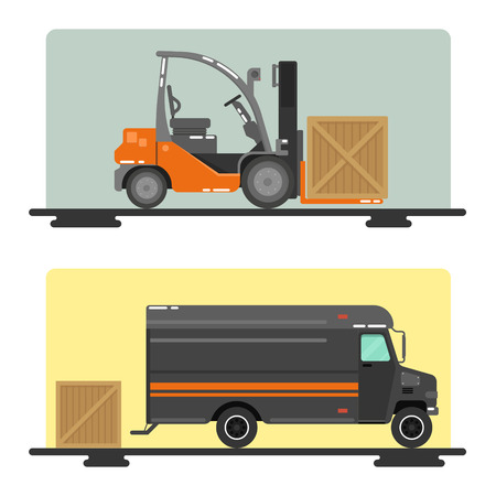 heavy industry: Forklift Truck. Delivery Van. Logistics Industry. Heavy Transportation. Cargo Transportation. Delivery Service. Vector illustration. Flat Style