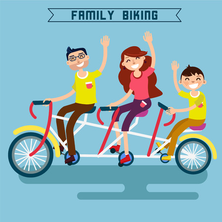 modern lifestyle: Family Biking. Family Riding a Bicycle. Triple Bicycle. Tandem Bicycle. Happy Family. Modern Lifestyle. Vector illustration