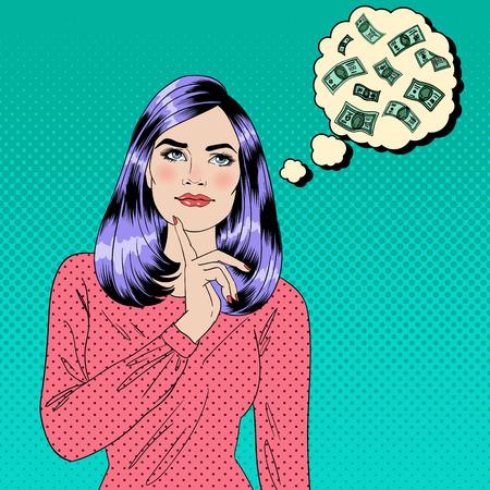 여자는 돈에 대한 꿈. 꿈꾸는 여자. 매력적인 여자. 큰 꿈. 돈 꿈. 예술 배너 팝. 벡터 일러스트 레이 션