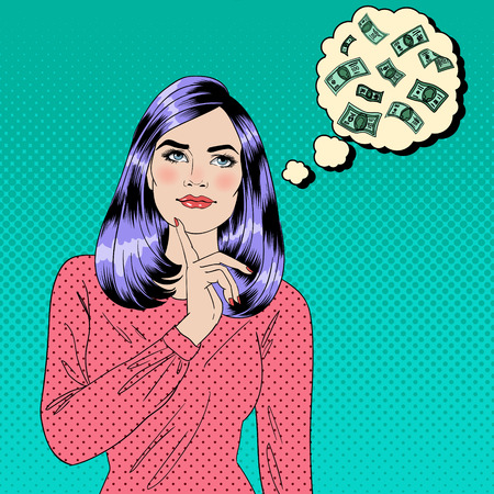Meisje Dromen over geld. Dreaming Vrouw. Aantrekkelijke Vrouw. Grote droom. Money Dream. Pop Art Banner. vector illustratie Stock Illustratie