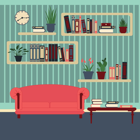 modern living room: Living Room Interior. Modern Home. Room with Book Shelves and Sofa. Vector illustration. Flat style