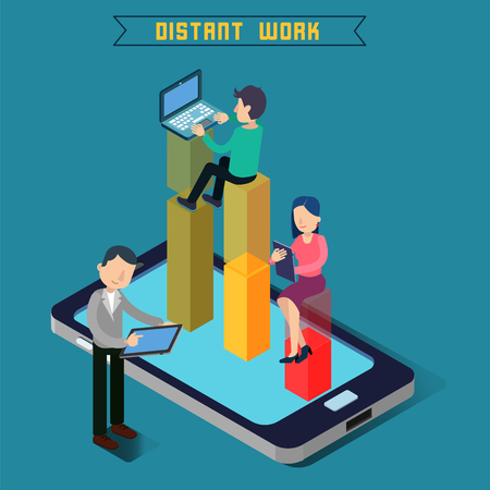 distant work: Distant Work. Team Work. Modern Technology. Remote Work. Isometric People. Isometric Concept. Man with Laptop. Woman with Tablet. Man with Tablet. Vector illustration Illustration