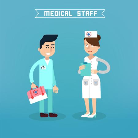 medical team: Medical Staff. Nurse and Doctor. Hospital Medical Team. Health Care. Medicine Professional. Medical Concept. Vector illustration