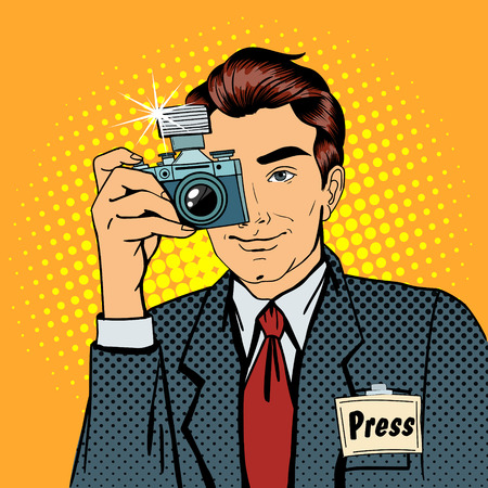 accreditation: Photographer Paparazzi. Reporter with Camera. Media Representative. Man Taking a Picture. Journalist with Camera. Mass Media. Pop Art Banner. Vector illustration Illustration
