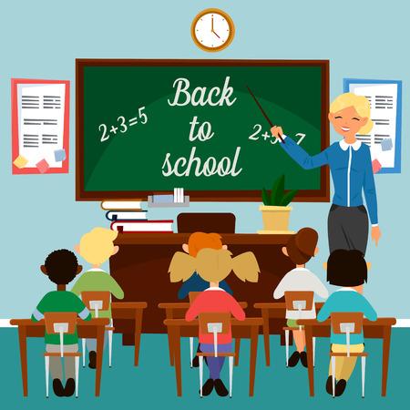 Terug naar school. Klaslokaal met kinderen Leraar aan het Blackboard. Educatief concept. Classroom Interieur. Scholieren in de klas. Vector illustratie