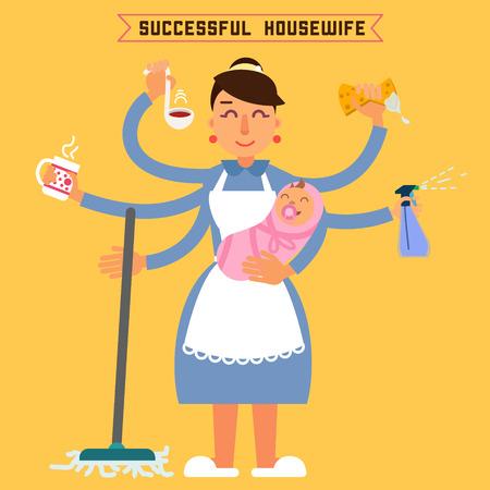Housewife réussie. Femme réussie. Femme Multitâche. Perfect Wife. Super maman. Multitâche Mère. Femme avec bébé. Vector illustration. le style plat Vecteurs