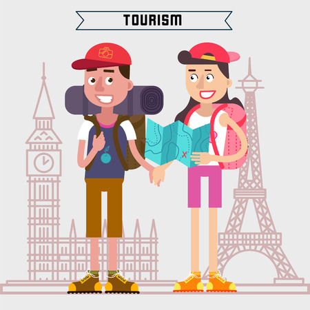 tourism industry: Travel Banner. Tourism Industry. Active People. Girl with Map. Man with Backpack. Tourists with Luggage. Happy Couple. Vector illustration. Flat Style