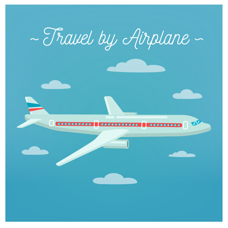weekend activities: Travel Banner. Tourism Industry. Airplane Travel. Mode of Transportation. Vector illustration. Flat Style Illustration