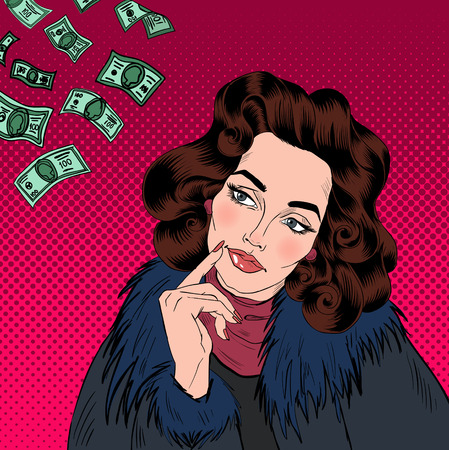 rich life: Woman Dreaming About Money. Dreaming Woman. Attractive Woman. Big Dream. Rich Life. Money Dream. Pop Art Banner. Vector illustration Illustration