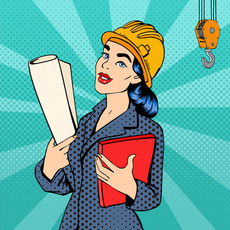 Business Woman. Woman Engineer. Woman in Helmet with Documents. Business Lady. Female Architect. Pop Art Banner. Vector Illustration Vettoriali